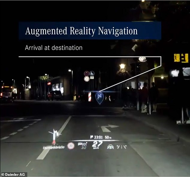 The windshield will also have an animated GPS system that will render arrows hovering next to off ramps and intersections, as well as a final destination marker